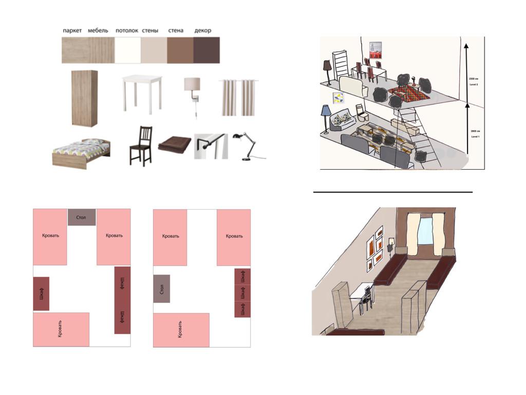 План зоны отдыха и комнаты.